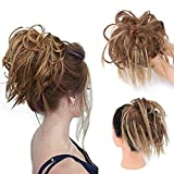 Tousled Updo Messy Bun Ponytail With Elastic Rubber Band Updo Extensions Hairpiece Synthetic Hair Extensions Scrunchies Ponytail Hairpieces for Women 12H24 (Light Reddish Brown Mix Natural Blonde)