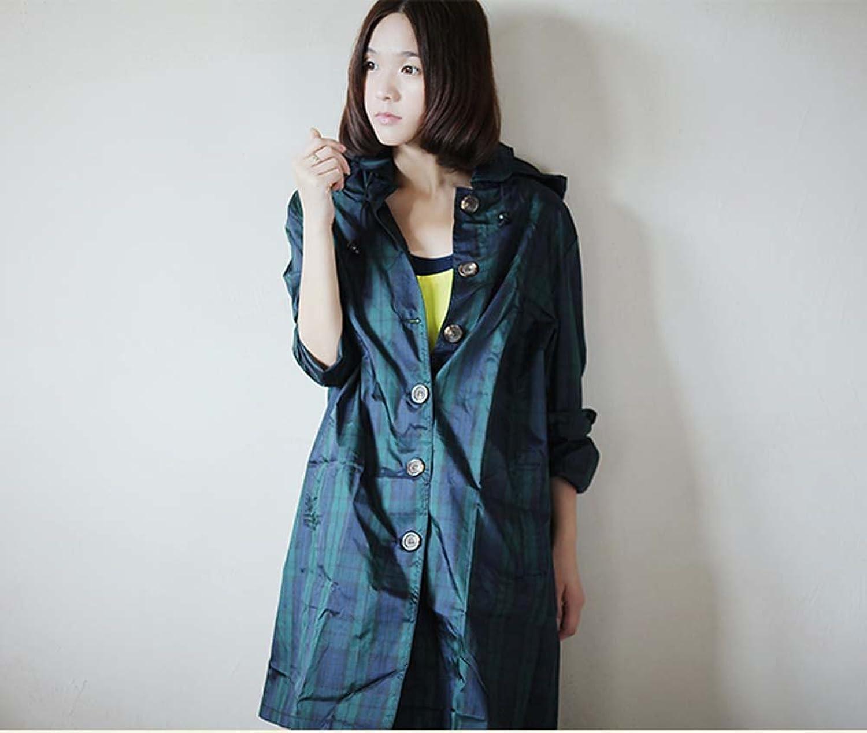 Classic British Green Plaid Fashion Breathable Outdoor Travel Windbreaker Raincoat Poncho Ms.