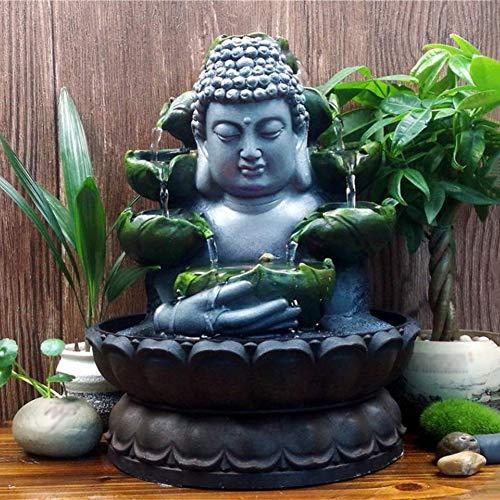 WANJIAJIA Zimmerbrunnen Buddha Zen Garten mit LED Beleuchtung Rollende Kugel und Lotusbasis Tisch-Meditationsbrunnen für Büro Wohnzimmer Schlafzimmer,A