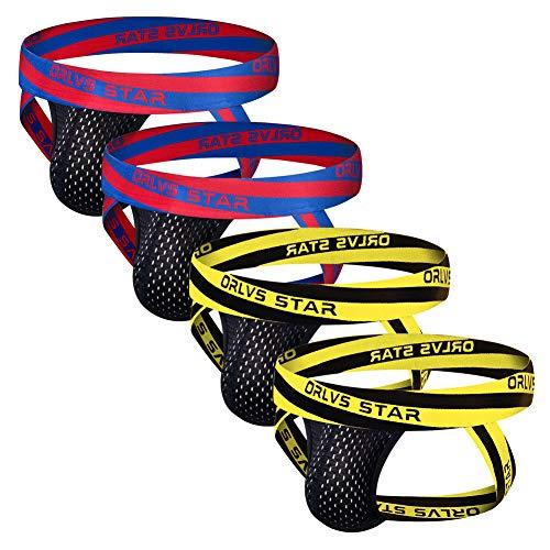 ORLVS Men's Jockstrap Athletic Supporters Mesh Pouch Jock Strap 4-Pack Athletic Underwear (Large 30.5''-33''/77cm-84cm)