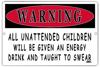 Rogue River Tactical Funny Sarcastic Metal Tin Sign Wall Decor Man Cave Bar Warning Unattended Children