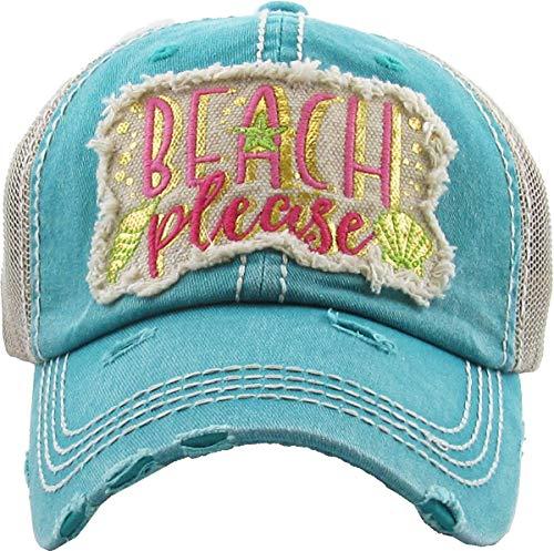 Distressed Baseball Cap Vintage Dad Hat - Beach Please Metallic (Teal)