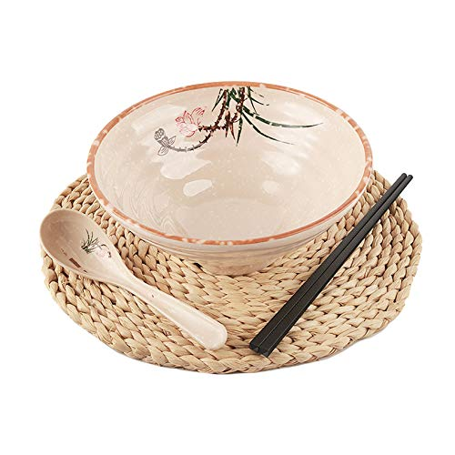 Ramen Schüssel-Set, chinesisches Geschirr-Set mit Essstäbchen und Löffel, 3-teilig