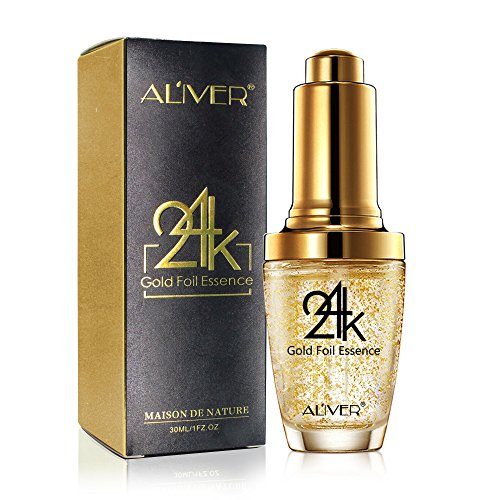 24K Gold Foil Essence Anti Aging & Wrinkle Moisturizing Firming Face Serum Treatment for Women Skin Care Hyaluronic Acid Liquid (30ml)