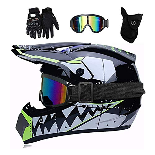 ZHUOYU Motocross Helmet,Motorrad Crosshelm Set,Downhill Enduro Helm Integralhelm,Jugend Kinder Dirt Bike Helme,Haifischform,DOT Zertifizierung,ATV/MTB/MX,Brille/Handschuhen/Maske (XL (58-59 cm),C)