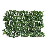 Künstliche Hecke Sichtschutzhecke Balkon Heckenpflanzen, 200x40cm Künstliche Efeu Garten Sichtschutz, Teleskopzaun Pflanzenwand, UV-Schutz Sichtschutz Gartenzaun Für Balkone, Fenster, Treppen, Wände