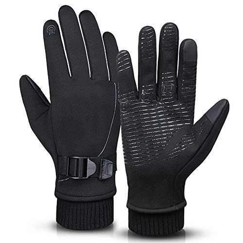 Winter Waterproof Running Thermal Cycling Gloves for Men, Black Touch...