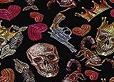XIEYI Puzzle 1000 Rompecabezas para Adultos a los niños Les Encanta el Arte gótico Corona Dorada y corazón Rojo Pistola escorpión sin Costura Oscuro Crimen Madera 70 * 50 cm