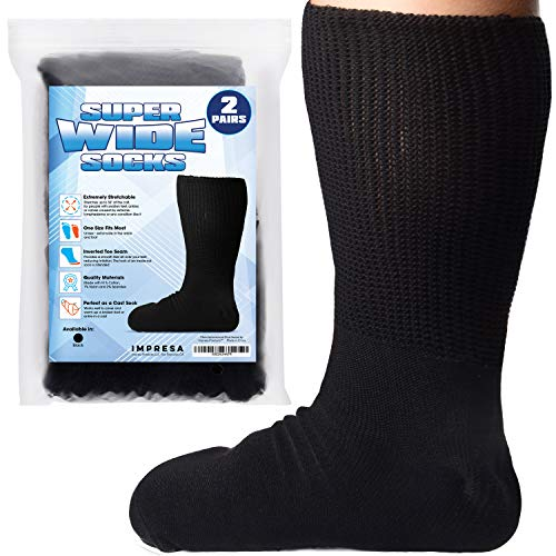 2 Pairs of Impresa Extra Width Socks for Lymphedema - Bariatric Sock - Oversized Sock Stretches up to 30'' Over Calf for Swollen Feet And Mens and Womens Legs - One Size Unisex
