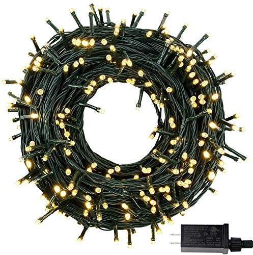 Extendable Green Wire 82FT 200 LED Christmas String Lights, 8 Lighting Modes Christmas Tree Lights with UL Certified, Wedding Holiday Party Decoration Indoor Outdoor Fairy Lights (Warm White)