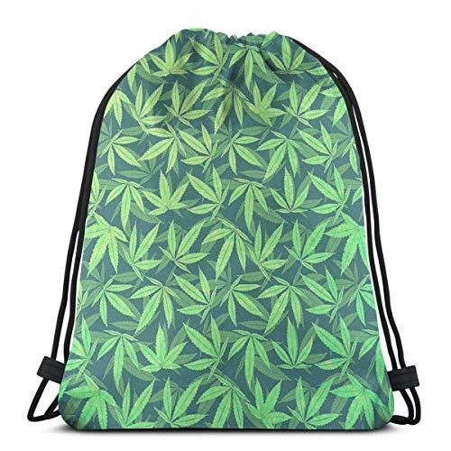 XCNGG Bolsa de Gimnasia Bolsa con cordón Bolsa de Viaje Bolsa de Deporte Mochila Escolar Mochila-hemp-420-marijuana-pattern-philipp-rietz (1) Unisex Drawstring Backpack Bag, Polyester Cinch Sack, Wat