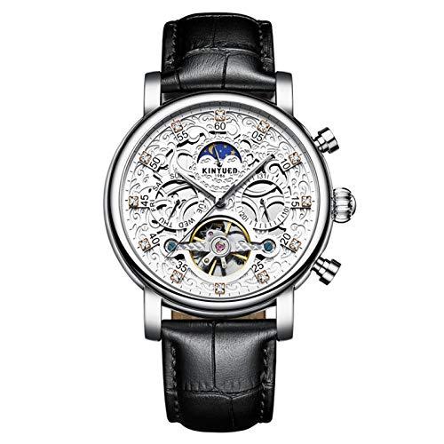 JTTM Relojes Analógicos Automáticos Mecánicos Relojes De Esqueleto Hombres Reloj con Correa De Cuero Marrón Relojes De Pulsera Impermeables para Hombres De Negocios Hombres,Silver Black