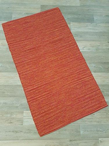 Kottig Fleckerlteppich Handweb Fleckerl Teppich Mallorca 60x90 cm 100% Baumwolle Rot