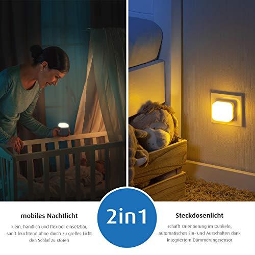 reer SleepLight 2in1 Nachtlicht für die Steckdose und mit Akkubetrieb, cool grey - 3