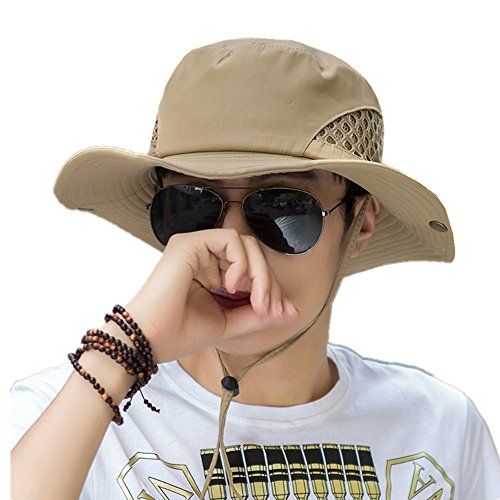 Homme Chapeau de Pêche Large Bord Anti-UV Chapeau Brousse Casquette Bordure Ronde Sun Hat Protection Anti-Soleil Séchage Rapide Bonnet pour Randonnée/Camping/Chasse/Hiking/Activités Extérieurs