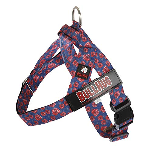 BULLHUG Dog Harness for Small Dogs No Pull – Adjustable Easy Walker Harness for Dogs – Perfect Dog Training Vest Harness – Stop Pets from Pulling & Choking Easy-Walk Harness - Roses-Purple Dog Harness
