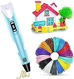 Caneta de impressão 3D, Caneta 3D com 15 cores com recarga de filamento PLA de carregamento USB, PLA e ABS compatíveis, brinquedo criativo, presente de artesanato para crianças e adultos