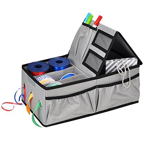 JEMIDI Aufbewahrungsbox für Geschenkband Aufbewahrungsboxen Organizer Geschenkpapier Bänder Box (Grau)