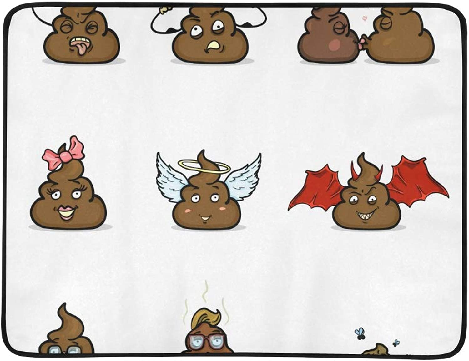Cute Emotional Poop Expression Emoji Pattern Portable and Foldable Blanket Mat 60x78 Inch Handy Mat for Camping Picnic Beach Indoor Outdoor Travel