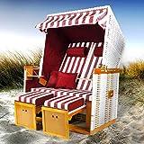 BRAST Strandkorb Nordsee XXL Volllieger Weiß Rot gestreift incl. Schutzhülle 2 Sitzer 120cm breit Gartenliege Sonneninsel Poly-Rattan