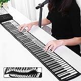 InLoveArts Roll Up Piano Teclado Portátil instrumento musical,128 sonidos excelentes, 128 ritmos, potencia dual, teclado de piano electrónico compatible con MIDI y Bluetooth