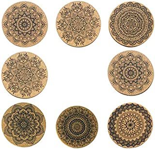 "Natural Cork Coasters With Round Edge 4 inches 8pc Set – 1/5"" Thick Plain Absorbent Heat-Resistant Reusable Saucers for Cold Drinks Wine Glasses Plants Cups & Mugs"