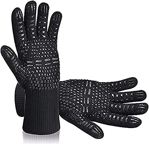 Rados Guantes de barbacoa, guantes de horno, guantes resistentes al calor, guantes para chimenea, para asar, cocinar, soldar, zona de fuego (negro)