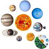 Xinzistar Sistema Solare 10 Piante Stelle Fluorescenti Adesive Soffitto Fai da Te Adesivi Murali Luminoso Decorazione della Parete per Casa Camera dei Bambini