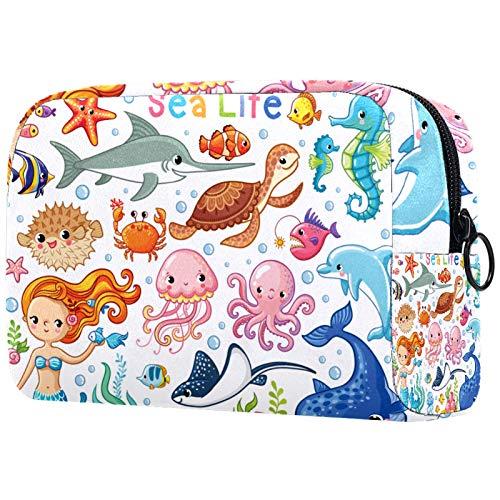 Personalised Makeup Brushes Bag Portable Toiletry Bags for Women Handbag Cosmetic Travel Organiser Sea Life Mermaid Octopus