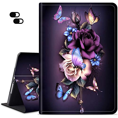 Case for All-New Amazon Kindle Paperwhite 4 Tablet(10th Generation, 2018 Release), Dikoer Slim Adjustable Stand Back Shell Protection Smart Cover + 2 Pack Camera Cover, Purple Flower Butterfly