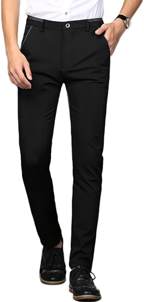 PlaidPlain Men's Stretch Dress Max 82% OFF Pants Regular dealer Fit Skinny Slim Suit