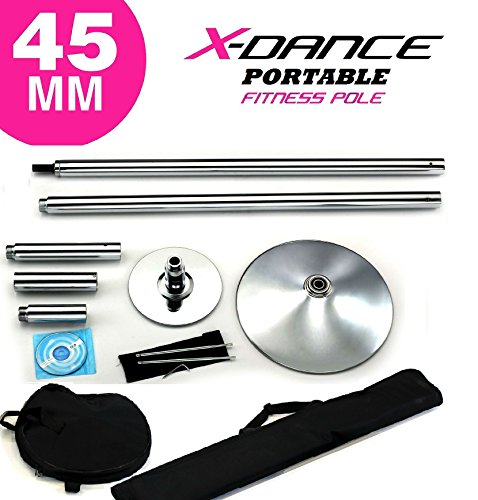 X-Dance (TM) 45 mm Professional Exotic Fitness Removable Pole Dance Stripper with 2 Black...