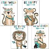 artpin® Juego de 4 pósteres para habitación infantil, decoración para niños y niñas, tamaño A4, imágenes de pared para habitación de bebé, animales del bosque indios, safari, escandinavo, boho, Jungle, multicolor (P44)