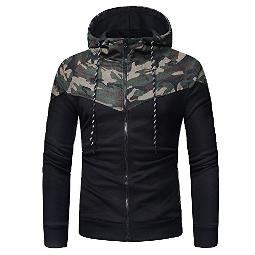 IMJONO Jacket,2019 Neujahrs Karnevalsaktion Herrenkleidung Men es Camouflage Long Sleeve Print Hooded Sweatshirt Tops Jacket Coat Outwear(X-Large, Tarnung )