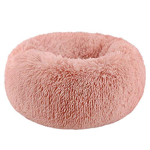 "WonderKathy Modern Soft Plush Round Pet Bed for Cats or Small Dogs, Mini Medium Sized Dog Cat Bed Self Warming Autumn Winter Indoor Snooze Sleeping Cozy Kitty Teddy Kennel (S(19.7""Dx7.9'H), Pink)"