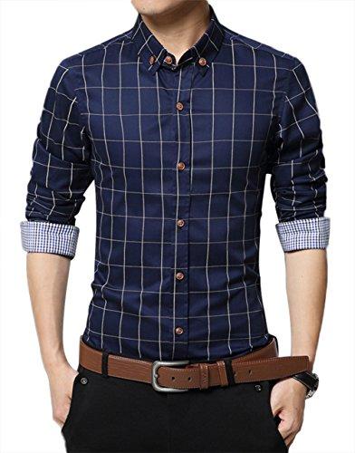 Kuson Homme Chemise à Carreaux Manche Longue Coton Slim Fit Casual Mince Bleu Foncé L