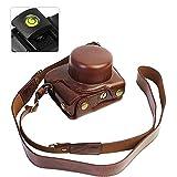 First2savvv XJD-J5-HH10G15 marron oscuro Calidad premium Funda Cámara cuero de la PU cámara digital bolsa caso cubierta con correa para Nikon 1 J5 con lente 10-30mm + nivel