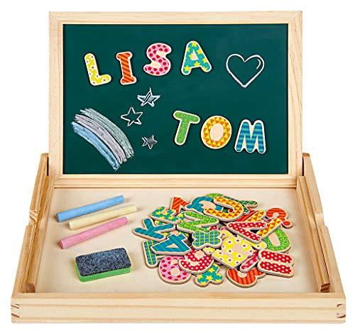 Moses. 30715 Magnettafel 2-in-1 | Kreidetafel 42 bunten Magneten, 3 Malkreiden, Whiteboard-Stift und Radierschwamm, Holz