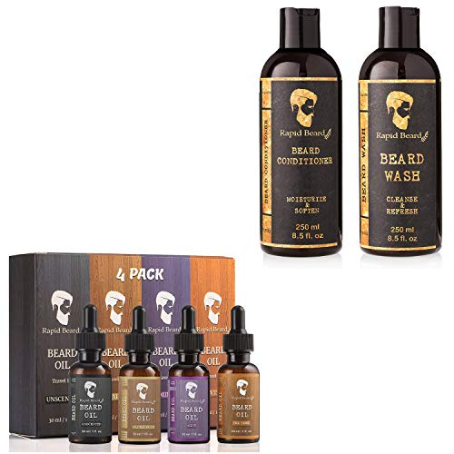 Beard Oil Conditioner Growth 4 Pack and Beard Shampoo and Beard Conditioner Bundle