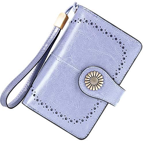 Cartera Mujer Mediana Bloqueo RFID Billeteras Mujer Piel Autentica con Cremallera, Gran Capacidad Billetera Monedero Mujer con Portafoto, Carteras Elegante Mujer 13 Tarjetas (Azul Claro)