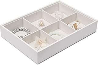 Vlando Miller Jewelry Tray-Six compartment,Multiple Color Combinations, Large Capacity Multi-Layer Design and Fashion(White)