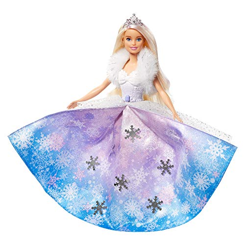 Barbie Muñeca Princesa de la nieve, falda azul transformaci