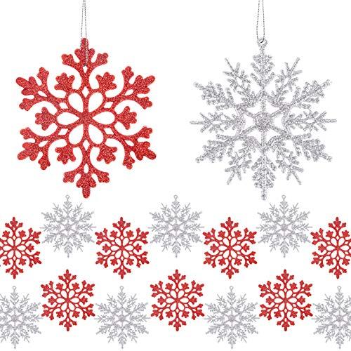 MELLIEX 24 Piezas Adorno Colgante de Copos de Nieve, Adornos de Navidad Copo de Nieve con Brillo Árbol De Navidad Ornamentos de Navidad para Decoración de Fiesta de Navidad