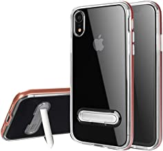 """HONTECH Compatible iPhone XR 6.1"""" 2018 Case, Slim Fit Clear TPU Backpanel Hard Frame Magnetic Metal Kickstand Cover"""