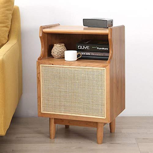 TWDYC Massivholz Nachttisch einfache Moderne Rattan Lagerschrank Sofa Seitenschrank kleine Wohnung Schlafzimmer Nachttisch