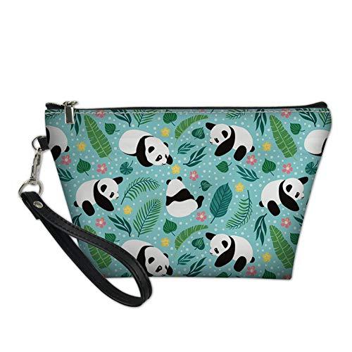 Hugs Idea Sac à cosmétiques en cuir imperméable à l'eau Motif aniaml Vert Panda Party petit