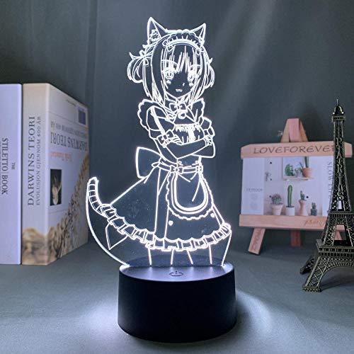 Anime Nekopara Azuki - Luz nocturna LED para dormitorio, decoración de cumpleaños, regalo, luz nocturna Mange Waifu habitación, mesa 3D lámpara Nekopara
