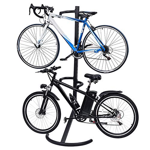 Goplus Gravity Bike Stand Adjustable Height Two-Bike Storage Rack Heavy Duty for Bicycle Parking, Garage Wall Stand Bike Organizer