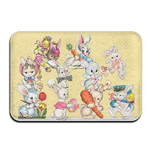 Novelcustom Candy Rabbit Easter Indoor Outdoor Doormats Super Absorbs Mud Dirt Easy Clean Cute Cat Floor Rug Door Mats 15.7\