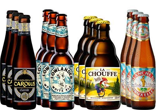 Kräuter- und Gewürzbier Bier Paket mit 12 Bieren - Gouden Carolus Classic + La Chouffe + Blanche de Bruxelles + Lowlander White Ale - belgische Biere + niederländisches Craft Bier
